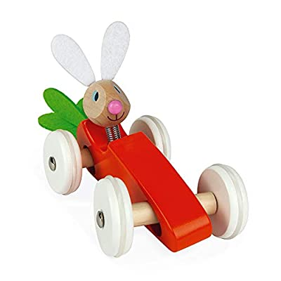 Janod Wooden Rabbit Lapin Carrot Car Push Car Early Learning and Motor Skills Toy for Ages 12 Months+: Toys & Games