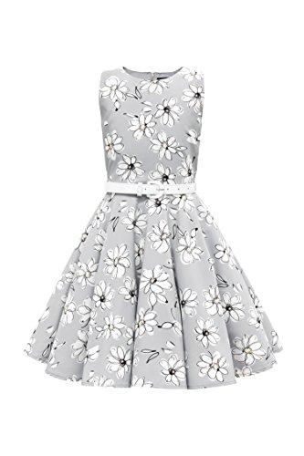 BlackButterfly Kids 'Audrey' Vintage Daisy 50's Girls Dress (Silver, 7-8 YRS) -