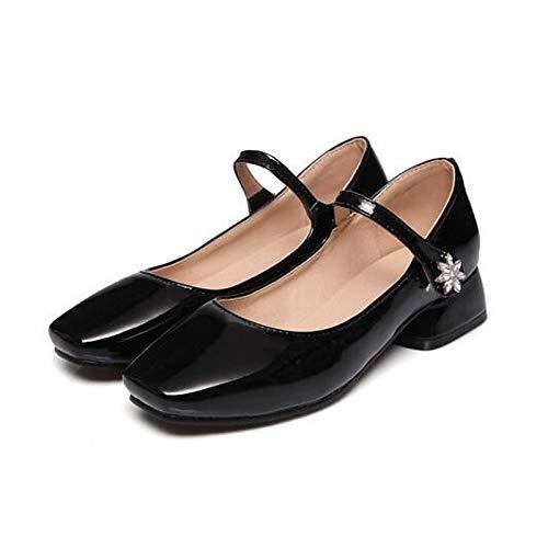 Charol White Comfort Negro ZHZNVX Comfort Primavera Chunky Zapatos de Verano Heel Heel y de Blanco Rosa nnwEZ18x