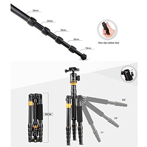 "Andoer DSLR Camera Tripod,52inch/ 132cm Aluminum Tripod Monopod with 360° Ball Head and 1/4"" Quick Release Plate for Canon Nikon Sony (135cm/52inch)"
