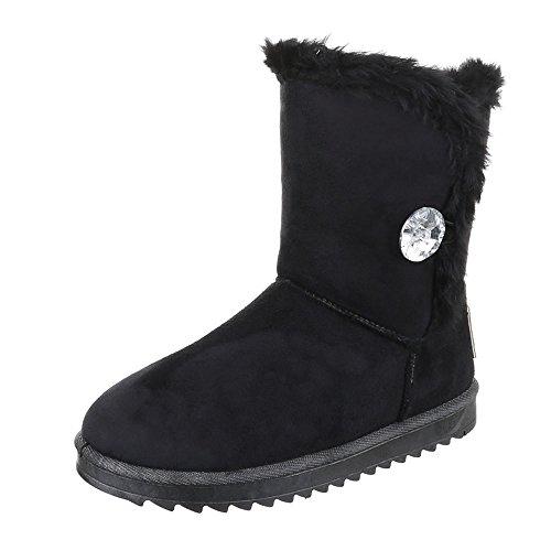 Ital-Design Komfort Stiefeletten Damen Schuhe Schlupfstiefel Warm Gefütterte Stiefeletten Schwarz