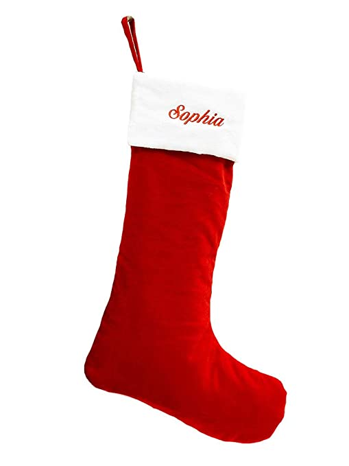 Red Velvet Christmas Stockings.Classic Red And White Velvet Christmas Stocking