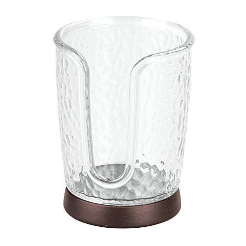 InterDesign Rain Disposable Paper and Plastic Cup Dispenser for Bathroom Vanity and Countertops-Clear/Bronze (Toilet Paper Foam)