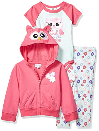 (Quiltex Baby Girls Owl Footed Leggings, Hoodie, and Creeper 3pc Set, Love You, 18M)