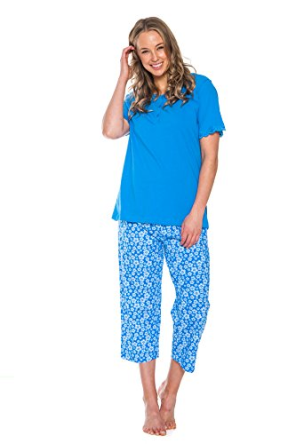 Cotton Jersey Knee Pants - Patricia Women's 2 Piece Cotton Pajama Capri and Shirt Set (Blue, Large)