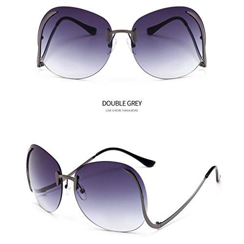 Unisex Men Women Classic Aviator Metal Designer Sunglasses with Case (Gray) - 8