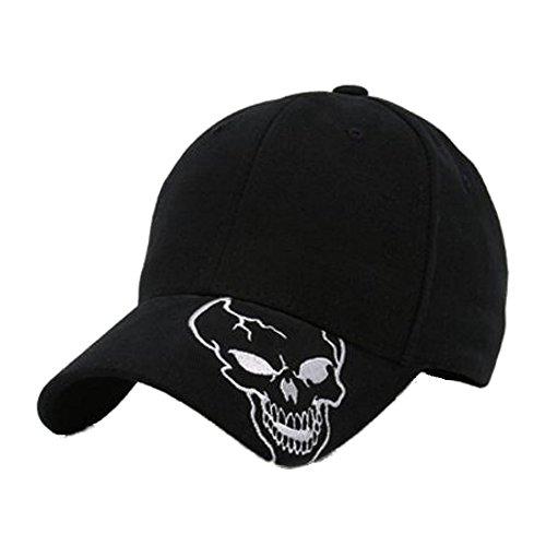 Skull With Cowboy Hat (Skull Skeleton Cotton Adjustable Baseball Cap - Skull on Brim, Black)