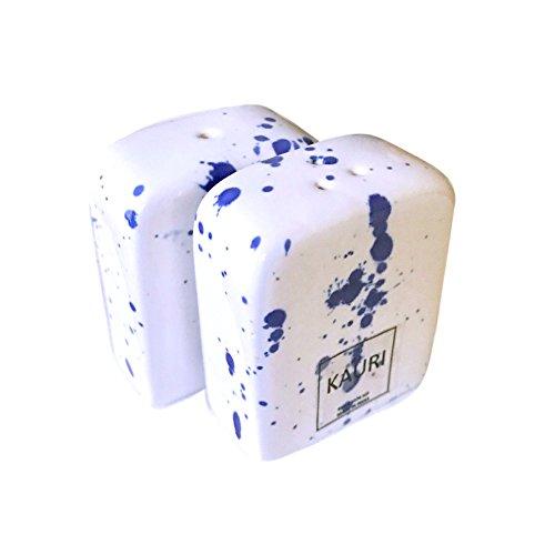 Kauri Ceramic Salt Shaker Set - White Splatter Salt & Pepper Shakers for Cooking and Kitchen Decor by Kauri (Image #1)