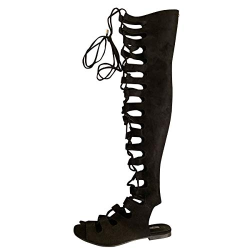Cape Robbin Womens Open Toe Lace Up Gladiator Over The Knee Thigh High Caged Flat Sandal Boot,Black,7 (Over Sandals Gladiator Knee The)
