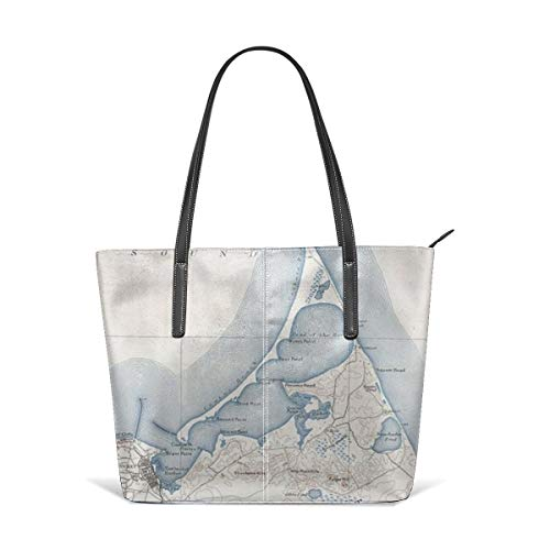 Women's Stylish Casual Tote Bag Canvas Travel Bags - Island Vintage Map Of Nantucket Shoulder Bags