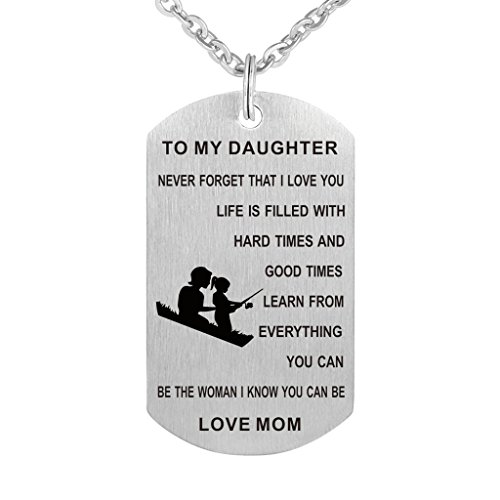 Dad Mom To my Daughter Dog Tag Pendant Necklace Military Jewelry Personalized Custom Dogtags Love Gift (Mom to Daughter)