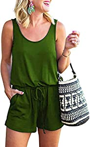 INIBUD Summer Sleeveless Romper for Women Tank Top Short Jumpsuit Rompers with Pockets Adjustable Waist
