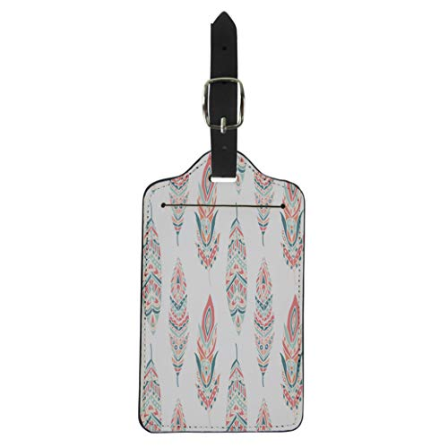 Semtomn Luggage Tag White Lattice Pattern of Four Petal Flowers on Light Suitcase Baggage Label Travel Tag ()