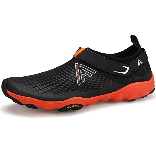 for Beach Unisex Sports Athletic Women Walking Lightweight Water Sunjcs Black Aqua Mesh Shoes Men and Shoes Sneakers Orange U7wSdqz