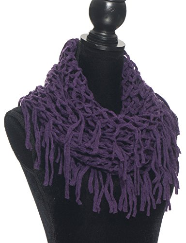Elles Clothing Women's Infinity Scarf Winter Crochet Knit Fringe and Tassel Loop Scarves - Purple - Various Styles and Colors