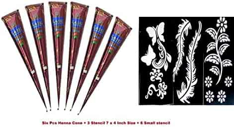 India Painting Tattoo Paste Cone,6 Tube Brown Paste Cone Indian Body Art Painting Drawing with free Stencil
