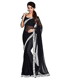Shonaya Black Georgette Lace Border saree & Unstitched Blouse Piece,Free Size