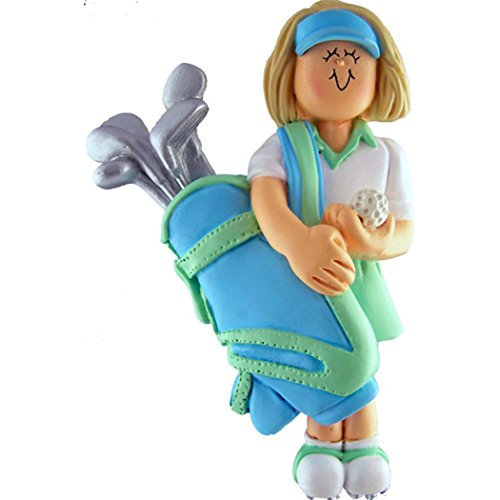 Personalized Golfer Girl Christmas Tree Ornament 2019 - Blonde Woman Player Hold Bag of Clubs Golf Ball Profession Member Hobby Caddy Amateurs - Free Customization (Yellow Hair Female)