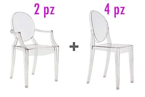 Philippe Starck Sedie.4 Sedie 2 Poltroncine Design Philippe Starck Replica Ghost In Policarbonato Trasparente
