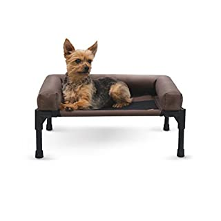 """K&H Pet Products Original Bolster Pet Cot Elevated Pet Bed Small Chocolate/Mesh 17"""" x 22"""" x 7"""""""