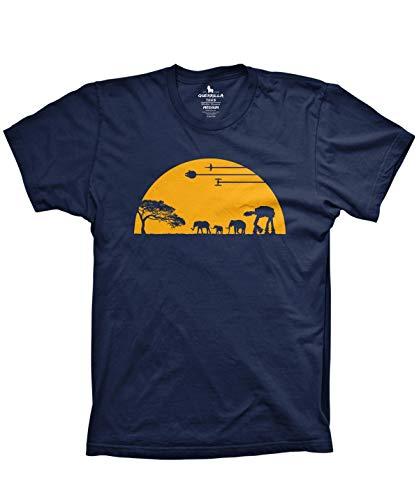 Guerrilla Tees at-at Movie Shirts Funny Tshirts Graphic Space tee, Navy, Medium