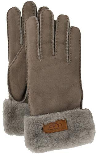 (UGG Women's Turn Cuff Water Resistant Sheepskin Gloves Stormy Grey SM)