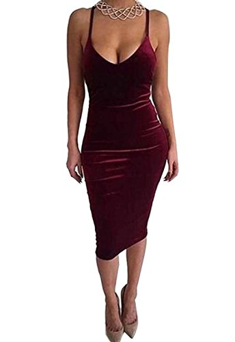Club Adogirl Roten Backless Bodycon isolationsschlauchb Samtkleid Wein Sexy Midi Frauen Der gel qqw6PZp