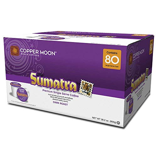 Copper Moon Single Cups for Keurig K-Cup Brewers, Sumatra, 80 Count, Dark Roast Coffee, with Smoothly Bold, Earthy Flavors, and Herbal Notes, Single-Serve Coffee Pods