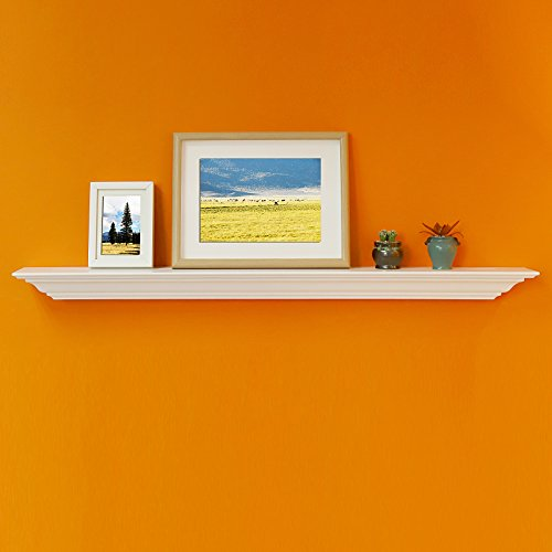 WELLAND Corona Crown Molding Floating Wall Photo Ledge Shelves Fireplace Mantel Shelf (48-Inch, White)