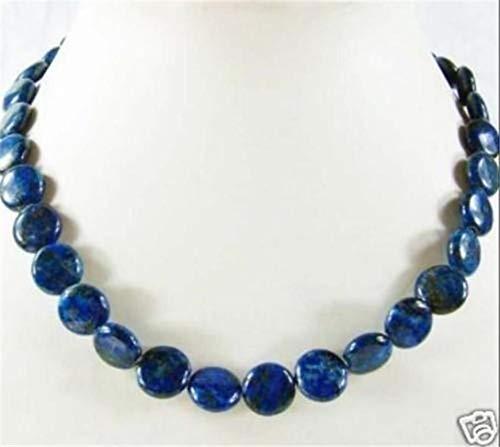 - FidgetKute Dark Blue 12mm Natural Lapis Lazuli Coin Gemstone Beads Necklaces 18