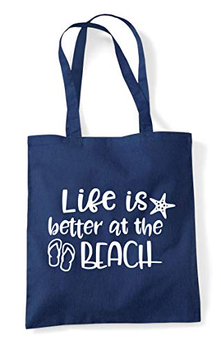 At Shopper Beach The Better Is Navy Bag Tote Life Statement vxqEC7wc8