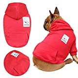 iChoue Pets Dog Clothes Hoodie Hooded French Bulldog Pug Boston Terrier Pullover Shirt Cotton Winter Warm Coat Clothing - Dark Red/Size L