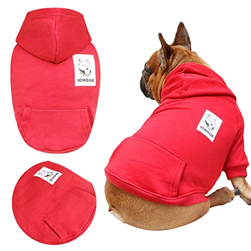 iChoue Pets Dog Clothes Hoodie Hooded French Bulldog Frenchie Shiba Inu Pullover Sweatshirt Cotton Winter Warm Coat Cloth - Dark Red/Size M (Terrier Dog Sweatshirt)