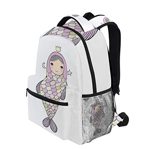 KVMV Fantasy Sea Life Mythological Character Girl in Fish Costume with Crown Moon Stars Lightweight School Backpack Students College Bag Travel Hiking Camping Bags
