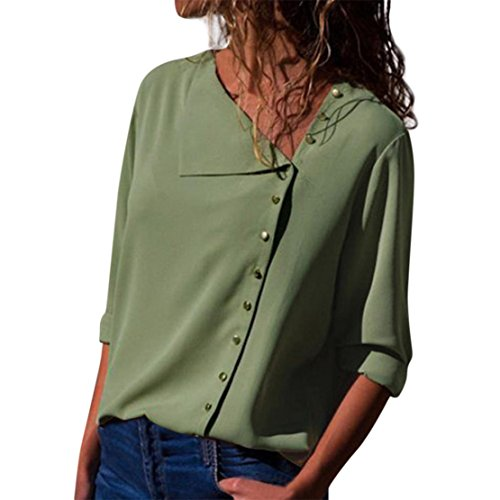Bluestercool T-Shirt Casual da Donna Collo a Risvolto  Manica Lunga Camicetta con Fibbia Verde