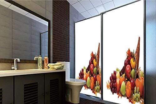 Horrisophie dodo 3D Privacy Window Film No Glue,Harvest,Fall Arrangement with Fruits of The Season in a Cornucopia Bountiful Harvest Corn Decorative,Multicolor,70.86