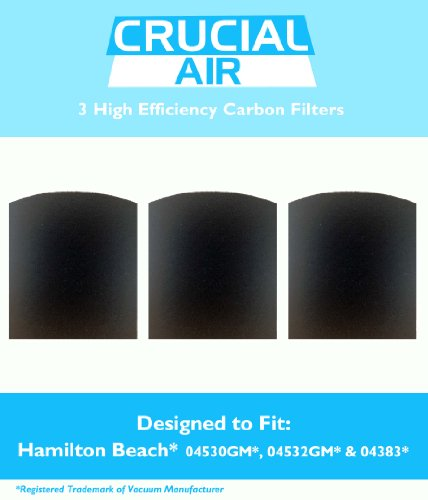 3 Crucial Air Replacement Carbon Filters for Hamilton Beach True Air Odors 04530GM 04532GM 04383 04531GM 04530F 04532GM 04251 04271 04530 04530F Part ()