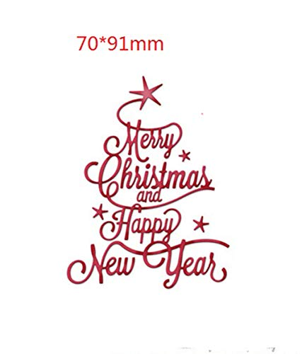 Fangfang Merry Christmas Happy New Year Metal Cutting Dies Festival Greeting Words DIY Scrapbooking Stencil Card Making Embossing Paper for Christmas Decoration (Style 3)