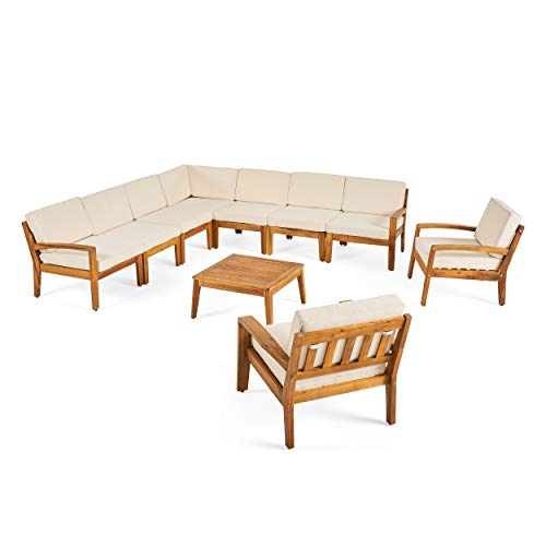 Teak Outdoor Frame - Great Deal Furniture Amaryllis Sectional Sofa Set for Patio | Acacia Wood with Cushions | 7-Piece Sectional with Coffee Table and Club Chairs | Teak and Cream