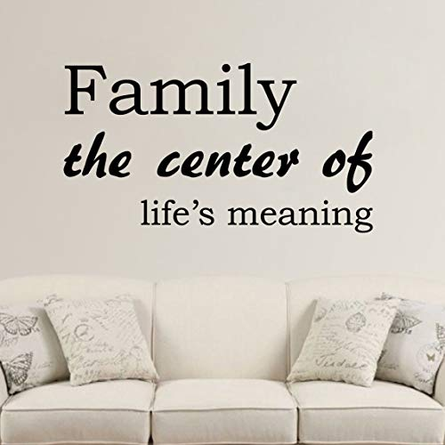 Diuangfoong Family The Center of Lifes Meaning Decal Wall Vinyl Sticker Family Kids Room Mural Decor Motivation Love Home Lettering Religious Decor -
