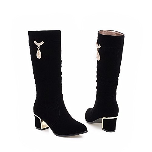 Allhqfashion Women's Frosted Pull-on Round Closed Toe Kitten-Heels High-top Boots Black ilNQVwO8oy