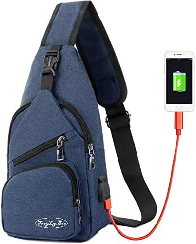 Sling bag: cross body sling shoulder bag Chest bag with USB charging port Size: Height 6.7 13 x Width x Side