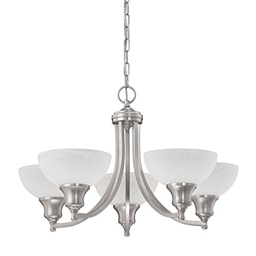 - Luminance F5455-53 Contemporary 5 Incandescent Chandelier Light with Satin Nickel Finish