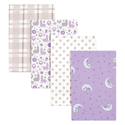 4 Piece Beautiful Baby Girls Purple Grey White Llamas and Unicorns Deluxe Flannel Blanket Set, Animal Themed Nursery Bedding, Infant Child Moon Floral Flowers Paisley Garden Nature Adorable, Cotton