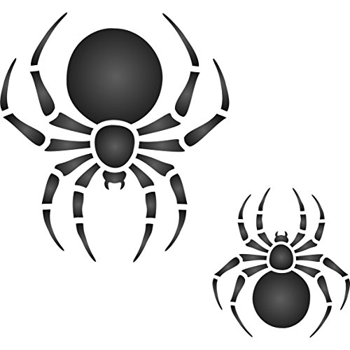 "2 Spider Stencil - (size 3.25""w x 3.25""h) Reusable Wall Stencils for Painting - Best Quality Halloween ideas - Use on Walls, Floors, Fabrics, Glass, Wood and (Halloween Ideas)"