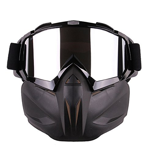 Ehonestbuy Detachable UV Protective Motorcycle Goggles Mask Anti-Fog Protective Ski Goggles, Adjustable Windproof Outdoor Paintball Airsoft Mask Face Shield for Kids Youth Men Women (Black) ()