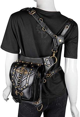 YOPDNE Women's bag multi-function one shoulder diagonal black skull PU outdoor close-fitting waist bag