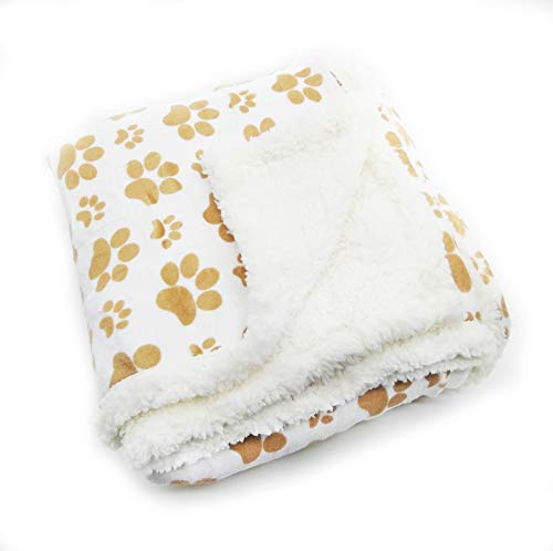 long rich Printed Dog paw Flannel Reverse to Sherpa Throw Blanket, Taupe, by Happycare Textiles