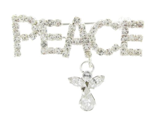 Crystal Dangling Brooch (Small Peace with Dangling Angel Rhinestone Word Brooch Pin and Clear Crystals)