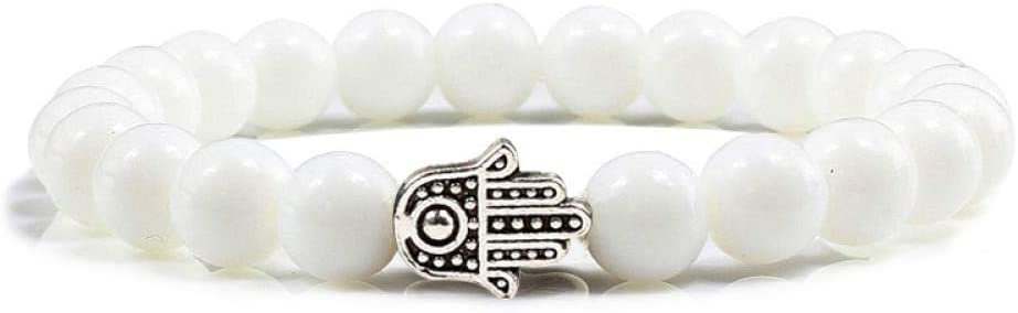 DMUEZW Rojo, Oro Blanco, Plata, Mini Mano, Colgante, Pulseras, Piedra Natural, Porcelana Blanca, Turquesa Pura, meditación Hecha a Mano, Personalizada.